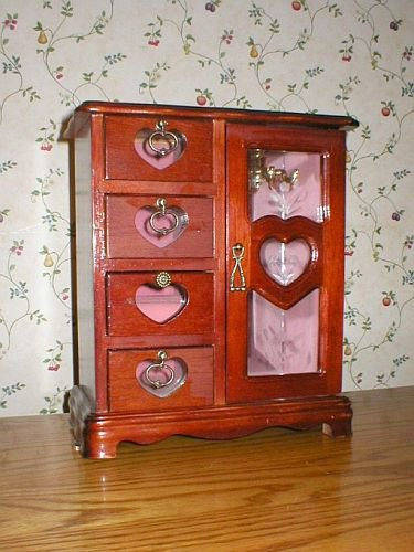 Vintage Mahogany 4-Drawer Glass Door Jewelry Box Cabinet