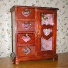 Vintage Mahogany 4-Drawer Glass Door Jewelry Box Cabinet
