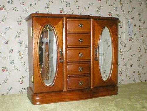 Five Drawer Double Door Mahogany Jewelry Box Cabinet