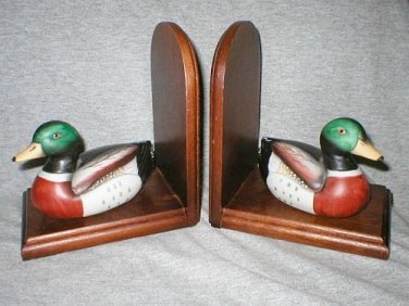 Hand Crafted Wood Mallard Duck Book Ends