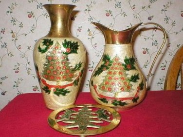 Brass Holiday Christmas Tree Urn Carafe & Trivet Set