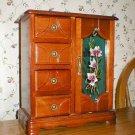 Mahogany Wood Glass Door 4-Drawer Jewelry Box Cabinet