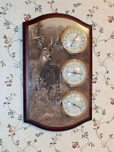 Springfield Deer Buck Barometer Thermometer Weather Station