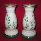 Ceramic Christmas Holly Candle Holder Candlesticks