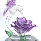 Glass Hummingbird With Purple Flower
