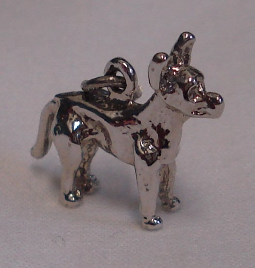 WOOF! Vintage Sterling CHIHUAHUA DOG Charm BIG EARS!