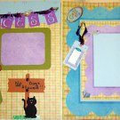 2 CUSTOM PREMADE SCRAPBOOK CAT PAGES NO DOGS ALLOWED