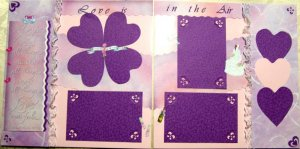2 CUSTOM PREMADE SCRAPBOOK PAGES WEDDING LOVE IS IN AIR