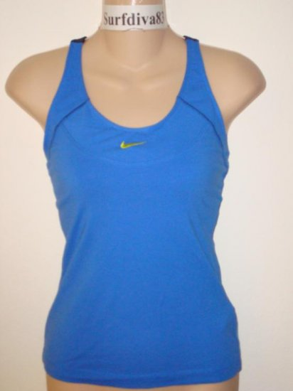 Nwt M 8-10 NIKE Women Racer Tank Top Shirt New Tennis Blue Medium
