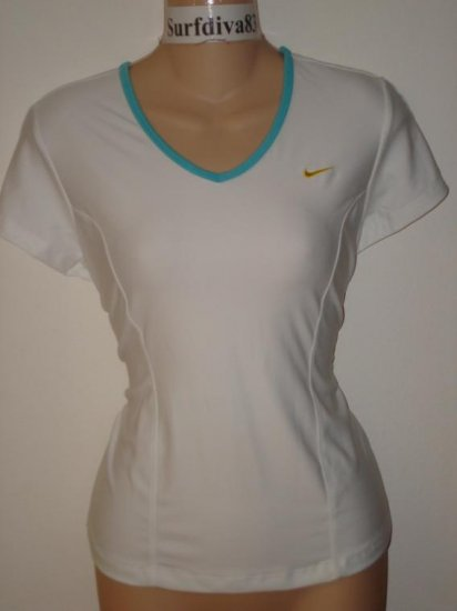 Nwt M 8-10 NIKE DRI-FIT Women Club Tee Top Shirt New Tennis White