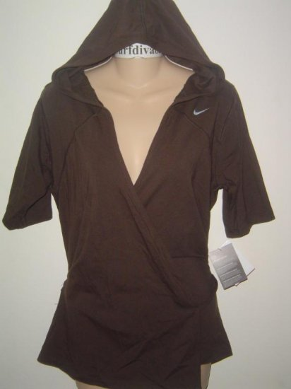 Nwt M NIKE Women Wrap-Up Soy Hoody Top Shirt New $65 Medium Brown