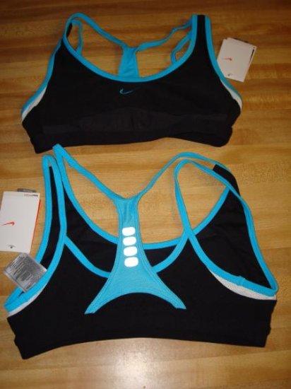 Nwt M 8-10 NIKE DRI-FIT Women Sport Bra Top Shirt New Medium Personal Best Black Blue