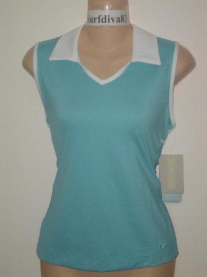 Nwt M NIKE GOLF Women Top Shirt New SPHERE DRY MACRO Medium Blue