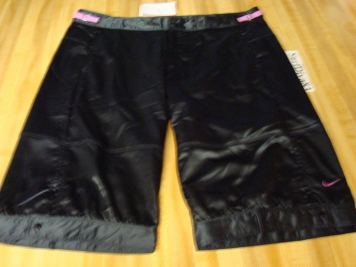 NwT L NIKE Women Dri-fit Dance Satin Knee Shorts New Large Black