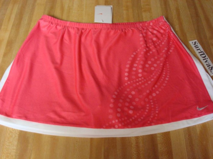 NwT L NIKE DRI-FIT Border Tennis Skirt Women New $55 Pink Printed