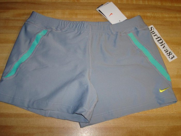 NwT L NIKE DRI-FIT Women Personal Best Run Shorts NeW Stealth Gray Azure Grenn