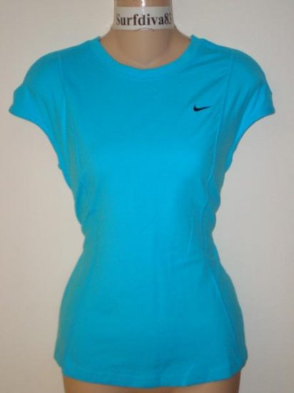 Nwt L 12-14 NIKE DRI-FIT Women Top Shirt New Running Blue