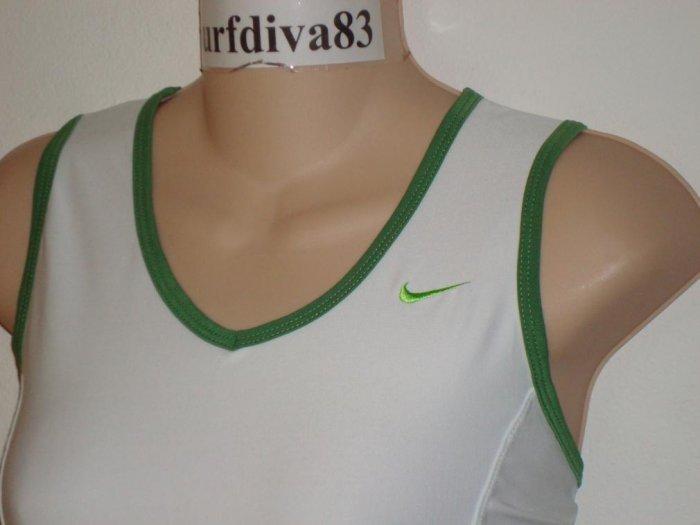 Nwt L 12-14 NIKE DRI-FIT Women CLUB Tank Top Shirt New Large White Green