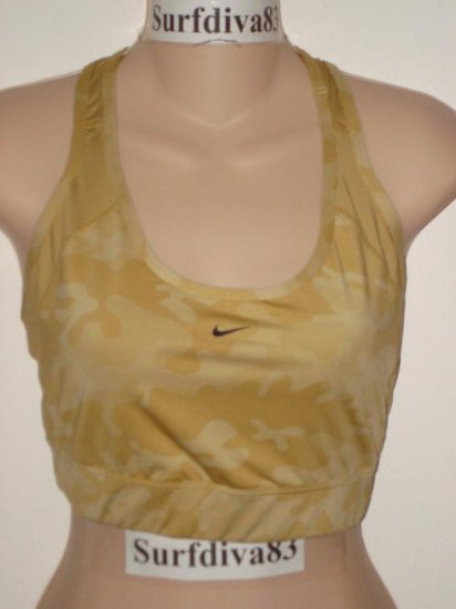 Nwt XL NIKE DRI-FIT Women Gold CAMO Sport Bra Top New Xlarge