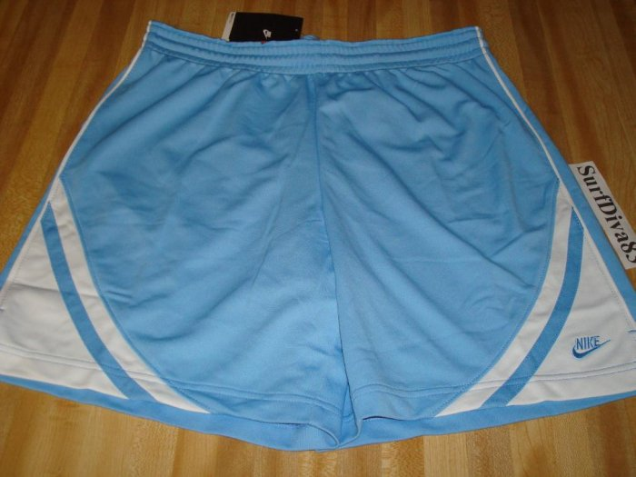 NwT M NIKE DRI-FIT Women Blue White WorkOut Shorts NeW Medium