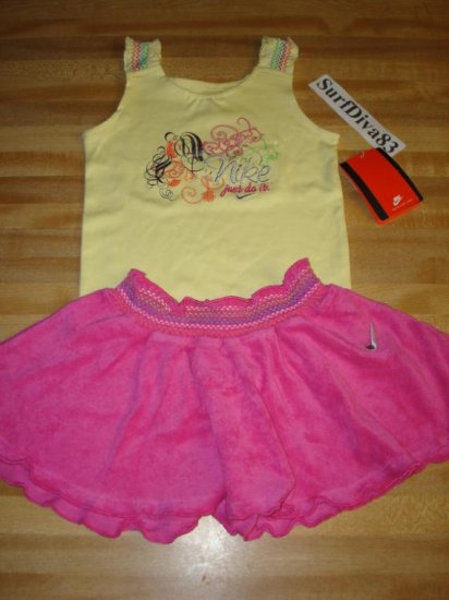 Nwt 18 NIKE Girl Tank Top Skirt Set New Baby Pink/Yellow
