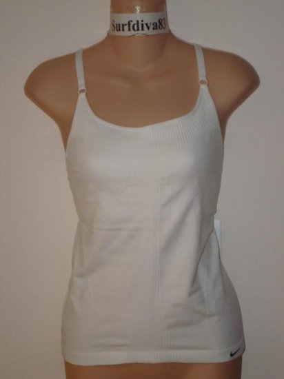 Nwt M L NIKE DRI-FIT Women Yoga Tank Top Shirt New $40 Medium Large White