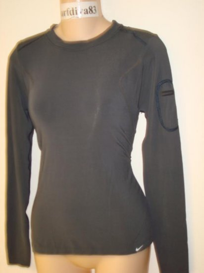 Nwt S M NIKE Dri-FIT Ipod Fitness Top Shirt New Women Small Mediium Charcoal