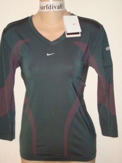 Nwt M NIKE + DRI-FIT Ipod Running Women Top Shirt New Medium Gray Pink