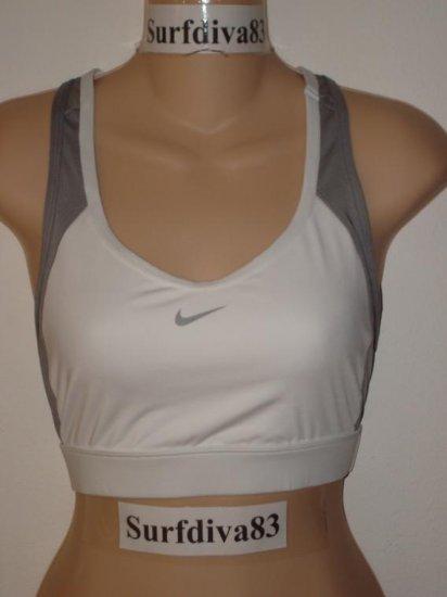 Nwt M NIKE Women DRI-FIT White Gray Sport Bra Top New Medium