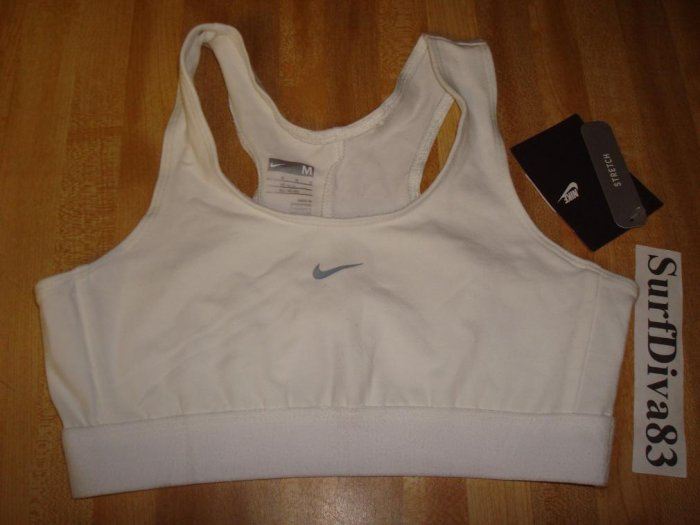 Nwt M 10-12 NIKE GIRL White Sport Bra Top Shirt New Medium
