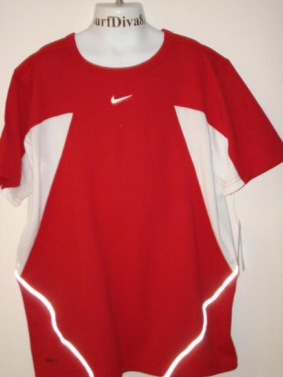 Nwt M NIKE Boys Red Dri-FIT UV Running Shirt Top New Medium