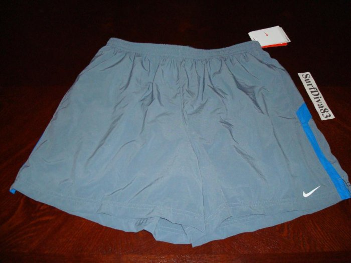 NwT L NIKE DRI-FIT Gray Blue Running Shorts Men New Large