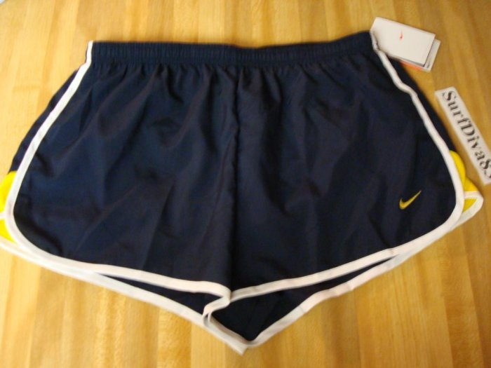 NwT M NIKE DRI-FIT Women Road Race Track Shorts NeW Medium Navy Yellow