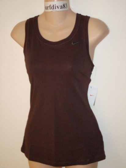 Nwt L NIKE DRI-FIT Women Fitness Tank Top Shirt New Large Brown