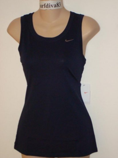 Nwt S NIKE DRI-FIT Women Fitness Tank Top Shirt New Small Navy Blue