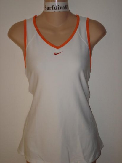 Nwt L NIKE DRI-FIT Women Zoned Cool Tank Top Shirt New Large White Orange