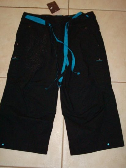 NwT M 8 10 NIKE Women Rhythm Radiance Capri Pants New Medium Black Blue