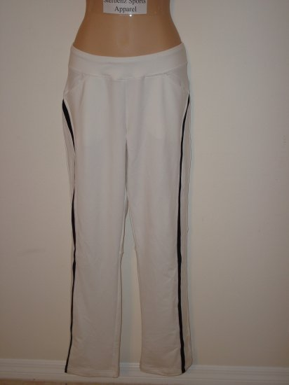 Nwt M 8 10 NIKE Dri-fit Women Border Tennis Pants New Medium White Black Fitness