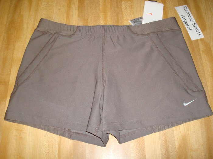 Nwt M NIKE Women Acceleration Running Shorts New DriFit Medium Personal Best Clay