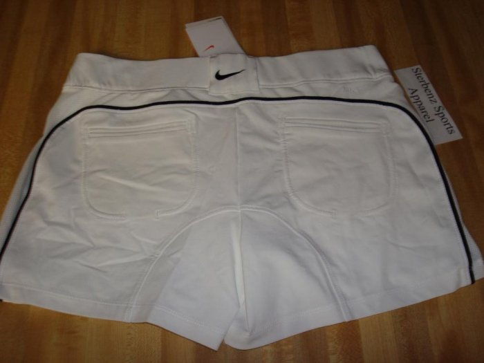 Nwt M NIKE Women Power Control Tennis Shorts New DriFit Medium 8 10 White Black 2 in 1