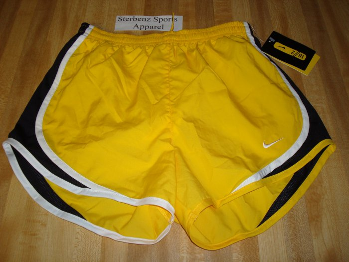 Nwt L NIKE Women Tempo Running Shorts New LIVESTRONG Large 12 14 Dri-Fit Yellow 239930-703
