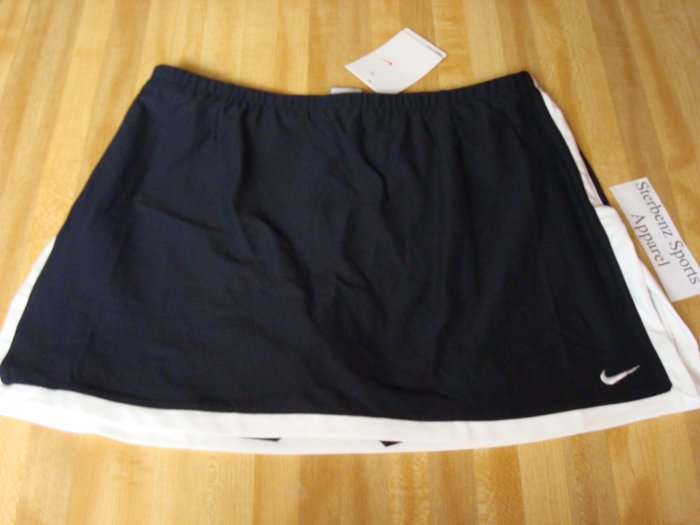 Nwt M NIKE Women Fit Dry Black BORDER Tennis Skirt New Medium 8 10