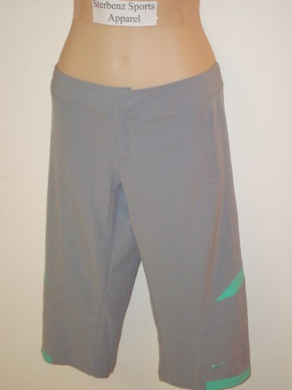 Nwt M NIKE Fit Dry Women Woven WorkOut Capri Pants New Medium 8 10 Light Gray Azure Green