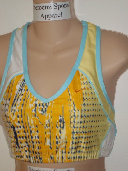 Nwt M NIKE Women Fit Dry Fitness Yoga Sport Bra Top New Medium Yellow Blue White