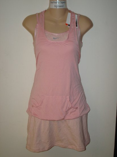 Nwt M NIKE Women Fit Dry Sharapova Tennis Dress New $90 Medium Pink Drop Shot Double Layer Dress