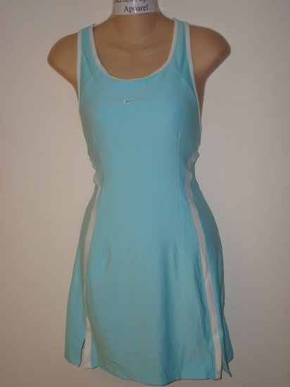 Nwt L NIKE Women Fit Dry Border Tennis Dress New $70 Large Light Blue