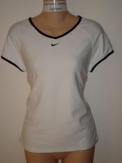 Nwt L NIKE Women Fit Dry Border Tennis Top Shirt New Large White Black