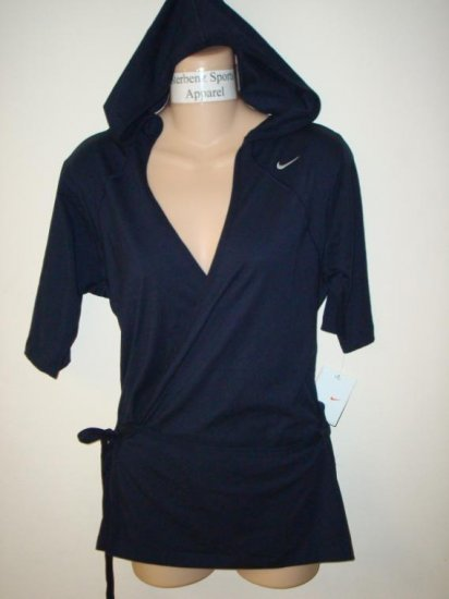 Nwt M NIKE Women Fit Dry Navy Wrap Up Soy Hoody Top New Medium