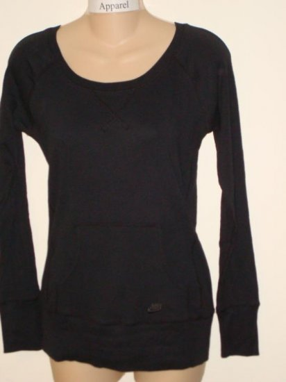 Nwt S 4 6 NIKE Women Black Ribbed Long-Sleeve Top New Small