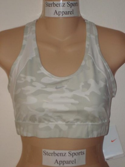 Nwt S 4-6 NIKE Women Fit Dry Camo Sport Bra Top New $35 Small White Gray